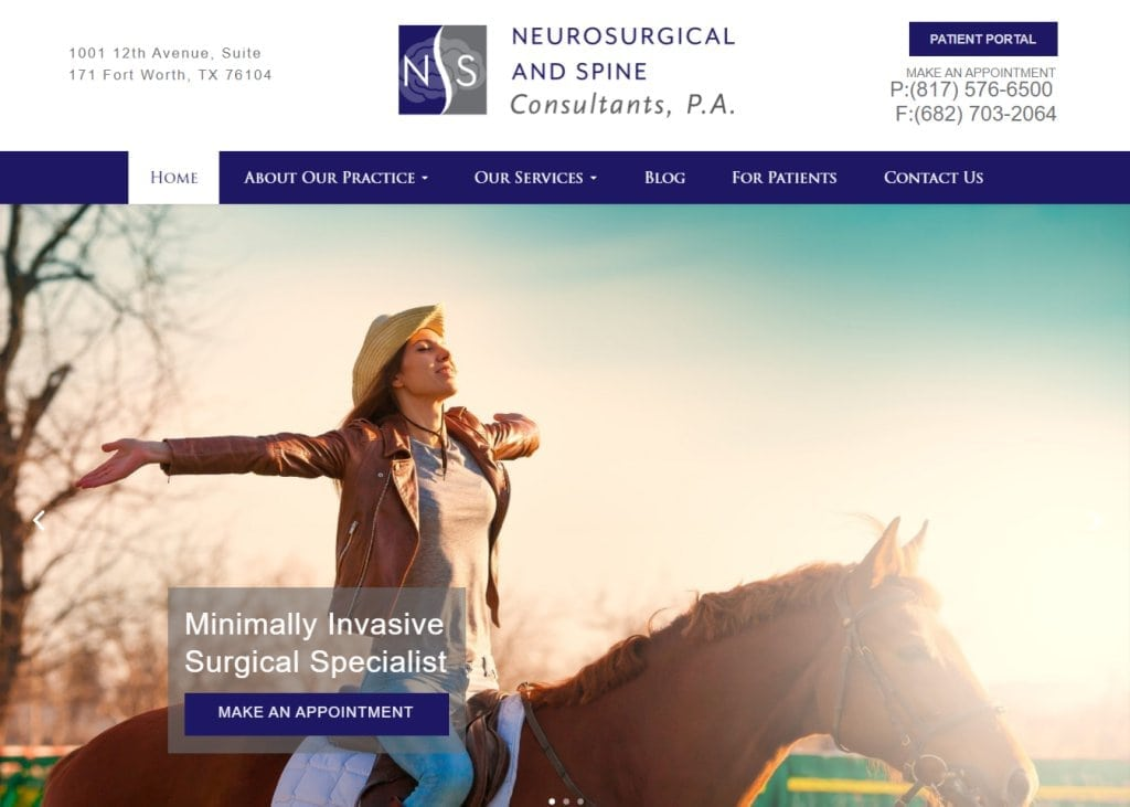 Ftworthneurospine.com Screenshot showing homepage of Forth Worth Neurosurgical & Spine Consultants PA, Dr. Diana Wilson - Fort Worth, TX website