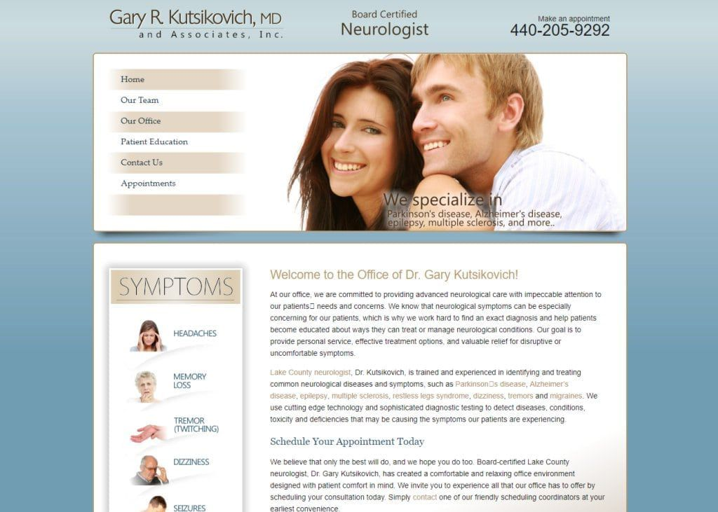 Lakecountyneurologist.com - Screenshot showing homepage of Gary R. Kutsikovich MD and Associates, Inc - Neurologist in Lake County and Mentor website