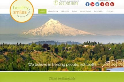 Healthysmilesdentalgroup.com - Screenshot showing homepage of Healthy Smiles Dental Group website