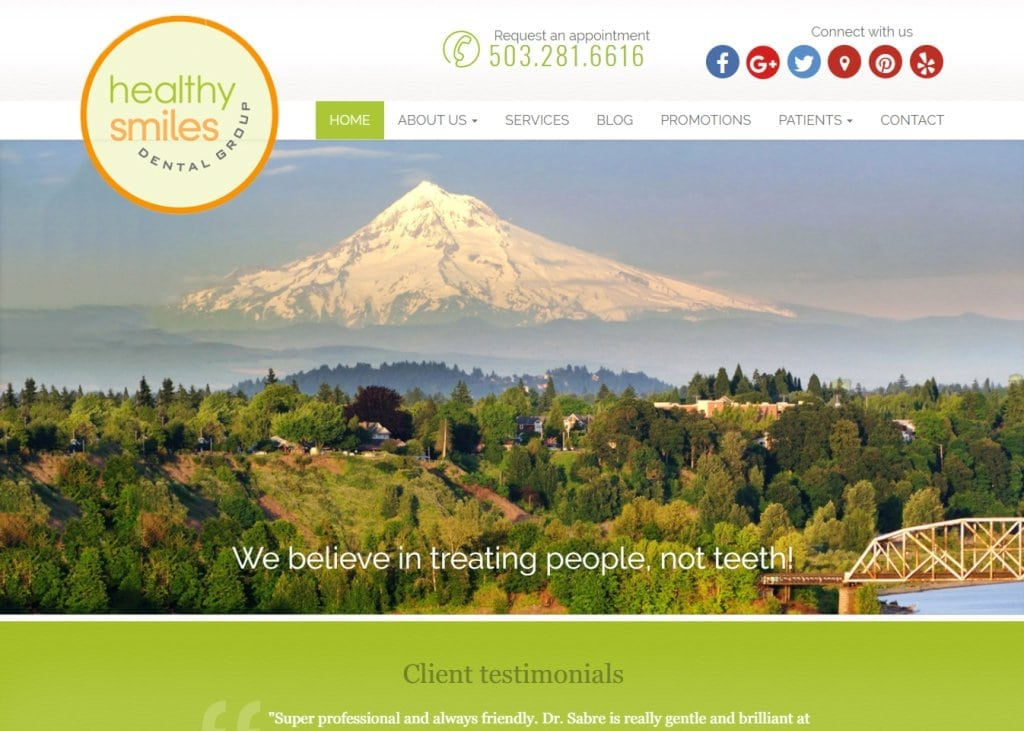 Healthysmilesdentalgroup.com - Screenshot showing homepage of Healthy Smiles Dental Group website