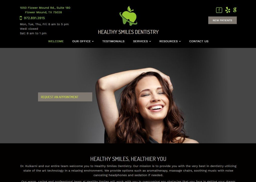 healthysmilesdentistry.net screenshot showing homepage of Healthy Smiles Dentistry, Dr. Varsha Kulkarni, DDS - Flower Mound, TX website