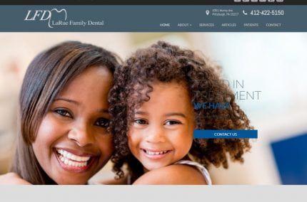 laruefamilydental.com Screenshot showing homepage of LaRue Family Dental -Pittsburgh, PA website