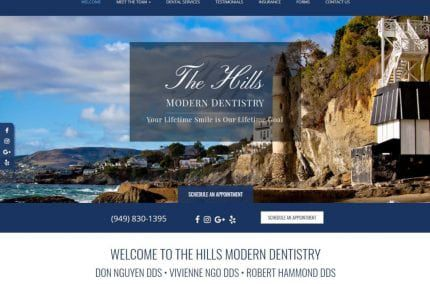 Lagunahillsdentists.com - Screenshot showing homepage of Laguna Hills Dentists, Dr. Don Nguyen, Dr. Vivienne Ngo, & Dr. Robert Hammond website