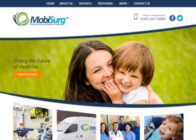 Screenshot showing homepage of Laguna Hills Outpatient Surgery - MobiSurg website