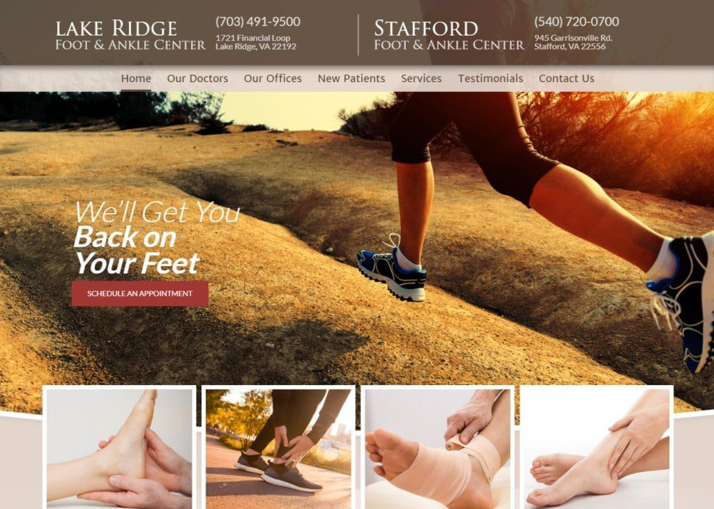 Screenshot showing homepage of Lakeridge & Stafford Foot and Ankle Centers, We'll Get You Back on Your Feet website