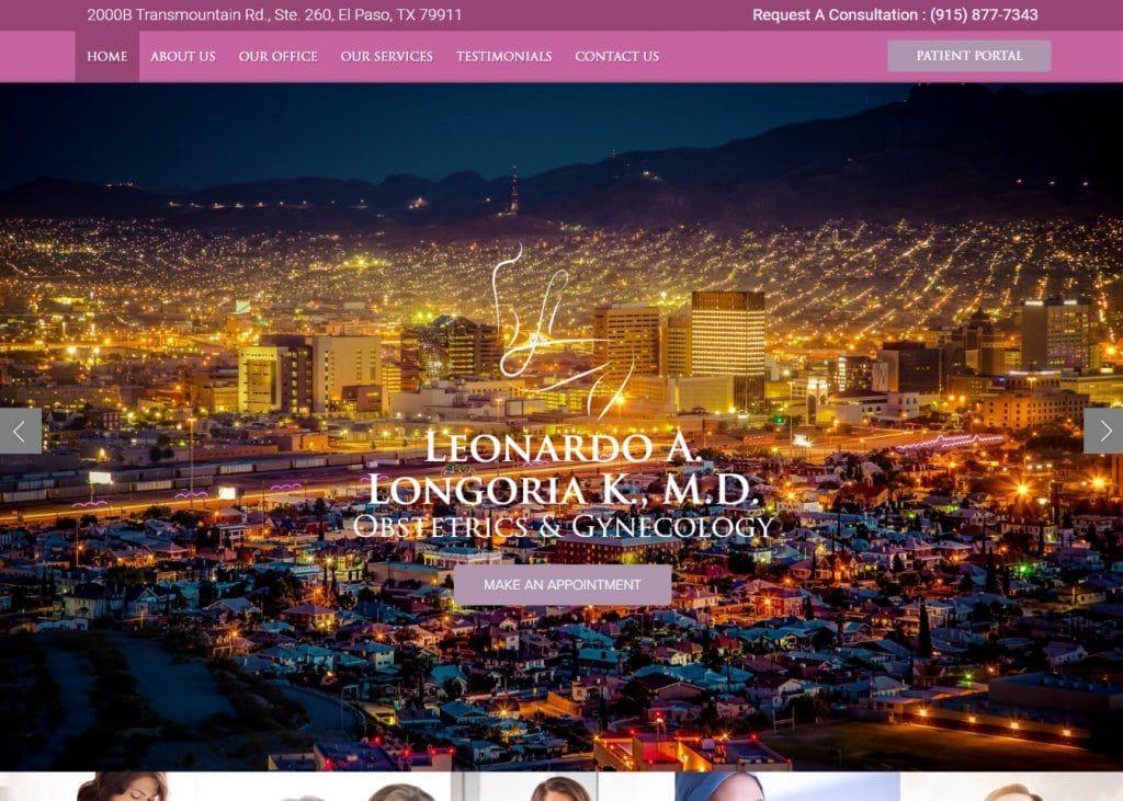Longoriaobgyn.com Screenshot showing homepage of Leonardo A. Longoria K., M.D. Obstetrics & Gynecology -El Paso Women's Specialists website