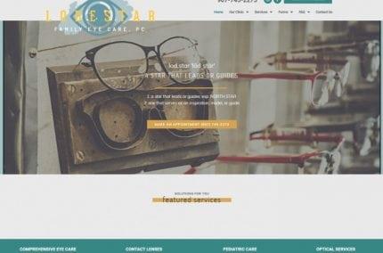 Lodestareye.com - Screenshot showing homepage of Lodestar Family Eye Care website
