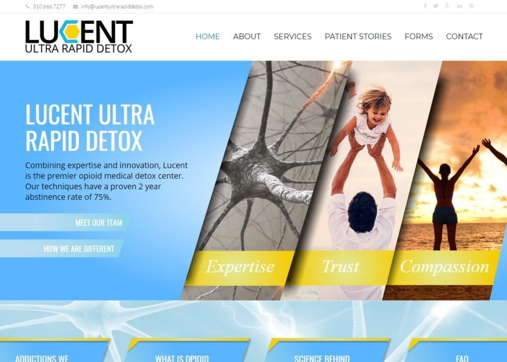 Screenshot showing homepage of Lucent Ultra Rapid Detox, Dr. Amir Ashrafi and Dr. Amir Norbaksh website