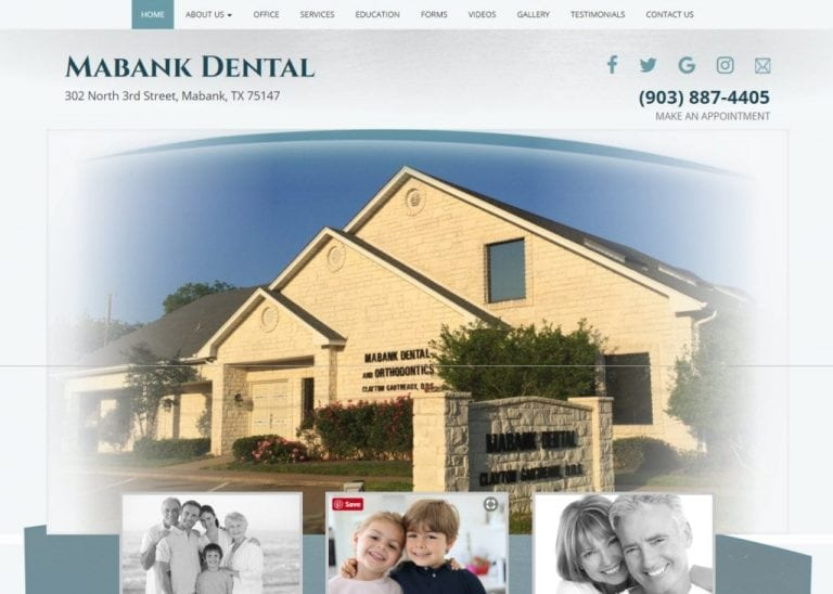 yourtexasdentist.com - Screenshot showing homepage of Mabank Dental - Dr. Clayton Gautreaux - Mabank, TX website