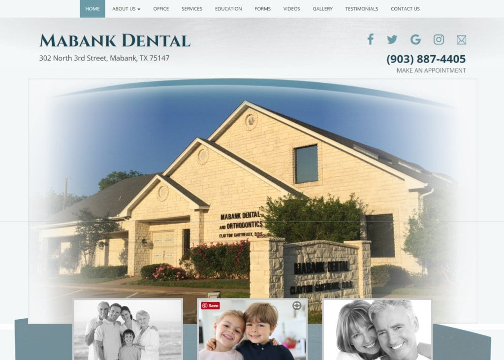 yourtexasdentist.com - Screenshot showing homepage of Mabank Dental - Dr. Clayton Gautreaux -Mabank, TXwebsite