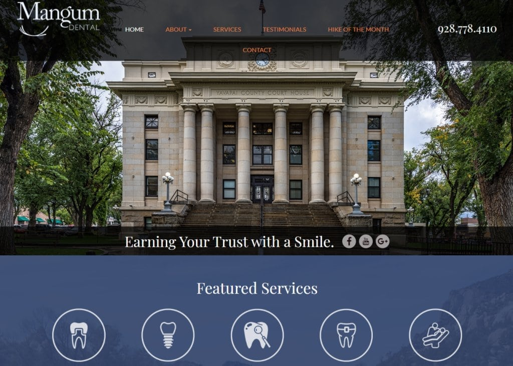 mangumdental.com screenshot showing homepage of Mangum Dental - Dr. Brett Mangum DDS, Your Prescott Dentists website
