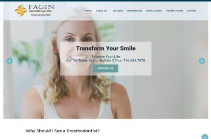 Transformyoursmile.com screenshot - Showing homepage of Marshall Fagin, D.D.S. Prosthodontist PLLC - East Amherst, NY website