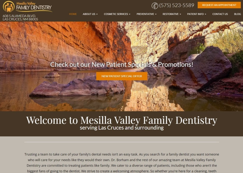 Mesillavalleydentist.com screenshot showing homepage of Mesilla Valley Family Dentistry,Dr. Borham andDr. Oushy, website