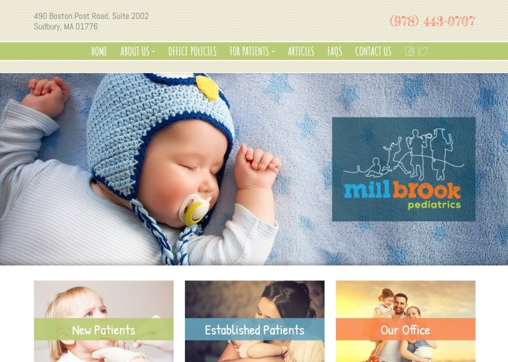 Screenshot showing homepage of Mill Brooks Pediatrics website