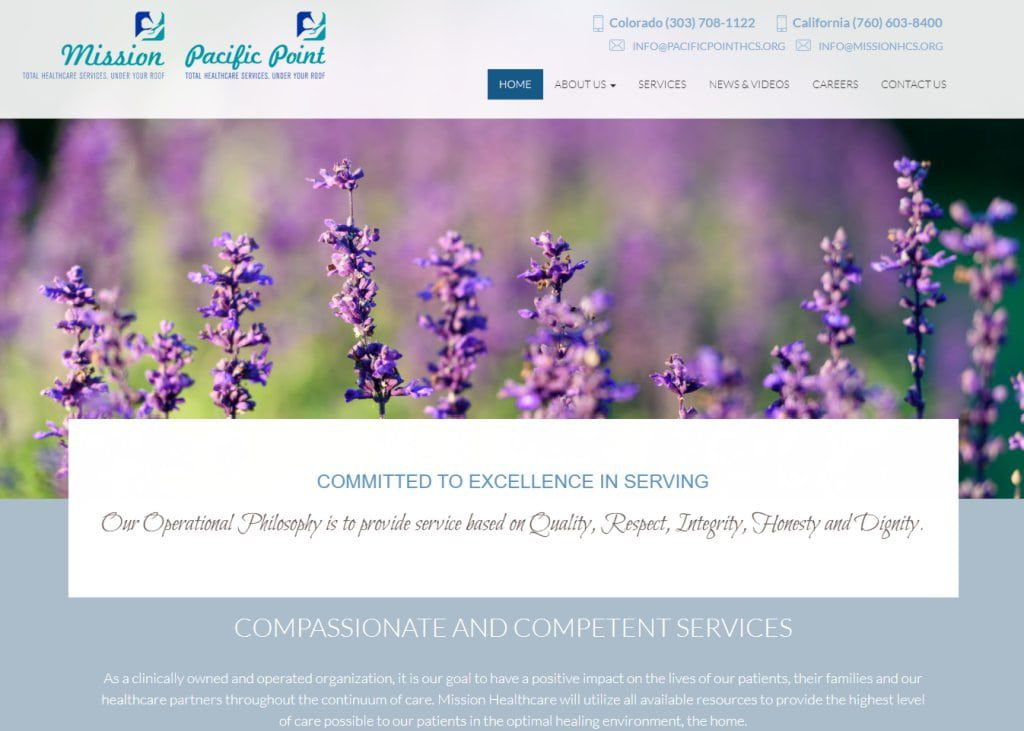 Missionpacifichcs.com - Screenshot showing homepage of Mission Pacific Point Total Healthcare, Services Under Your Roof website