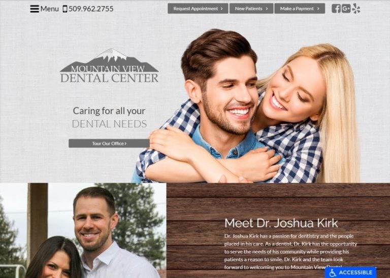 Ellensburgdentist.com screenshot - Showing homepage of Mountain View Dental Center, Dr. Joshua Kirk -Ellensburg Dentist website