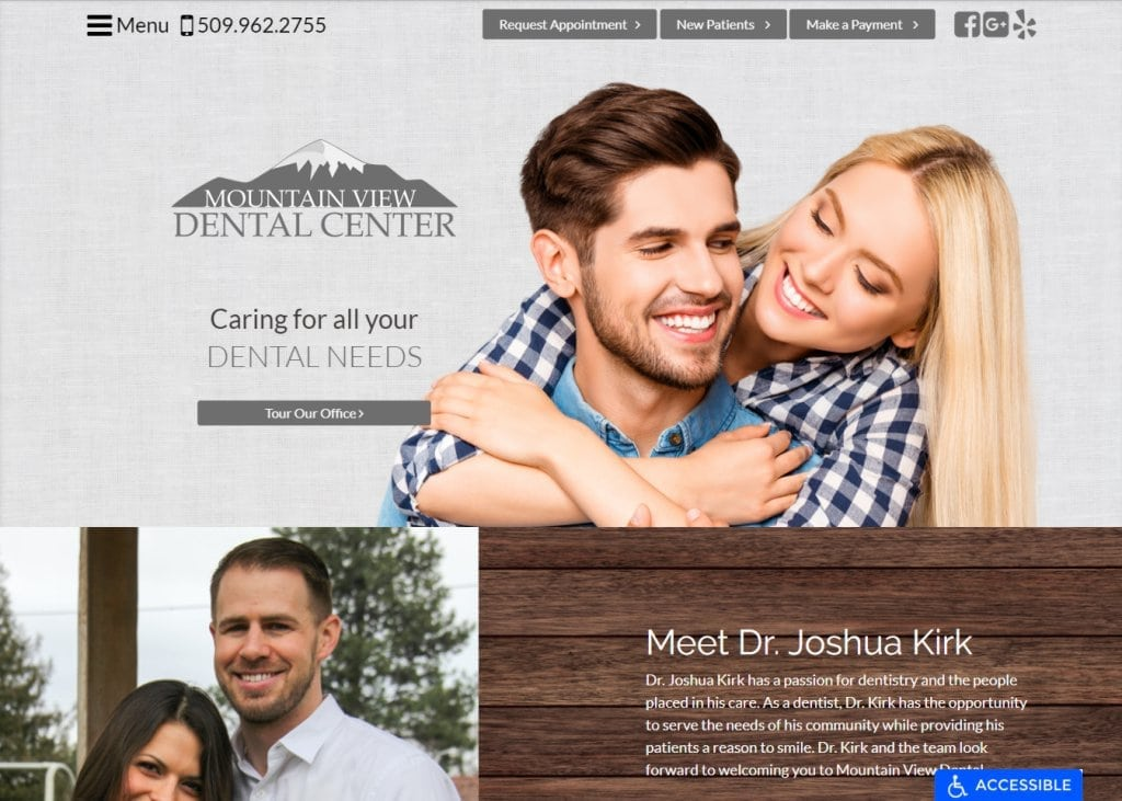 Ellensburgdentist.com screenshot - Showing homepage of Mountain View Dental Center, Dr. Joshua Kirk - Ellensburg Dentist website