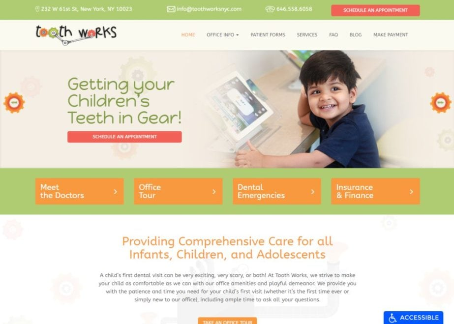 toothworksnyc.com screenshot showing homepage of New York Pediatric Dentists - Tooth Works Pediatric Dentistry - New York, NY website
