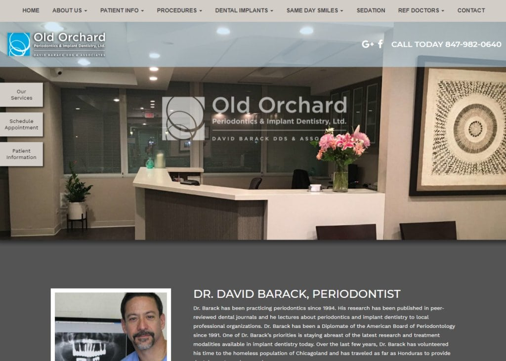 ooperio.com screenshot showing homepage of Old Orchard Periodontics & Implantology, Dr. David Barack website