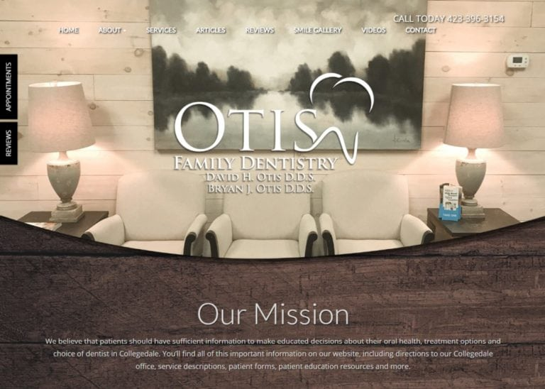 Screenshot showing homepage picture of Otis Family Dentistry, David H. Otis, D.D.S. - Ootelwah, TN website