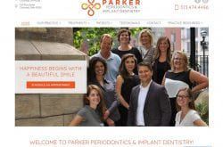 Parkerperio.com - Screenshot showing homepage of Parker Periodontics & Implant Dentistry, Dr. Matthew M. Parker website