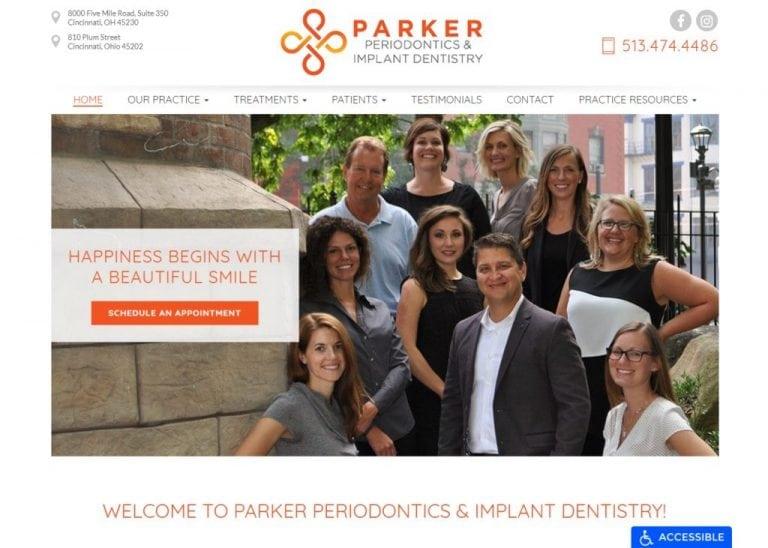 Parkerperio.com - Screenshot showing homepage of Parker Periodontics & Implant Dentistry, Dr. Matthew M. Parker website