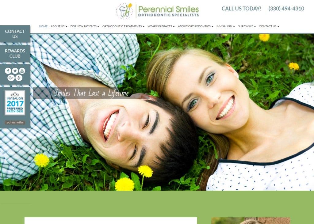 perennialsmiles.com screenshot showing homepage of Perennial Smiles,Dr. Stephanie Morgan -North Canton, OH website