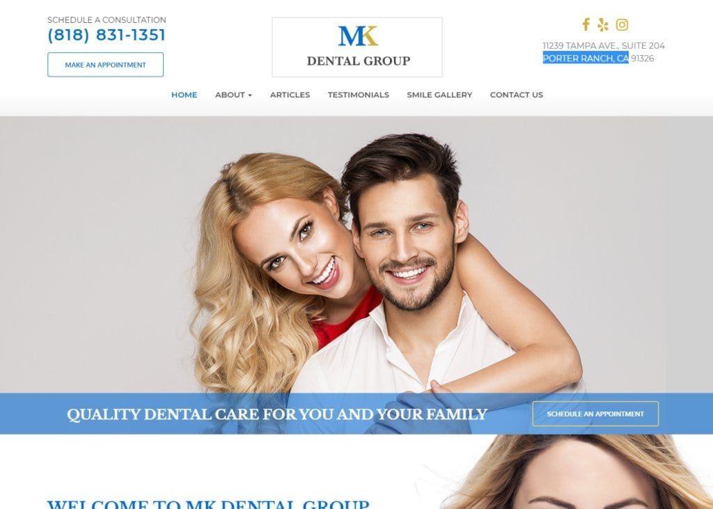 Dentistporterranch.com - screenshot - Showing homepage of Porter Ranch Dentist - Dr. Michael Khorramian website