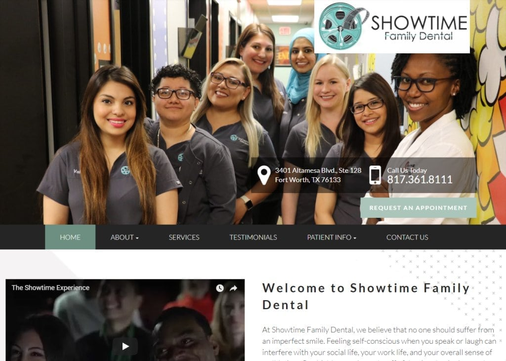 Showtimefamilydental.com - Screenshot showing homepage of Providing You With the Finest Dentistry Possible, Dr. Sonia Smith website