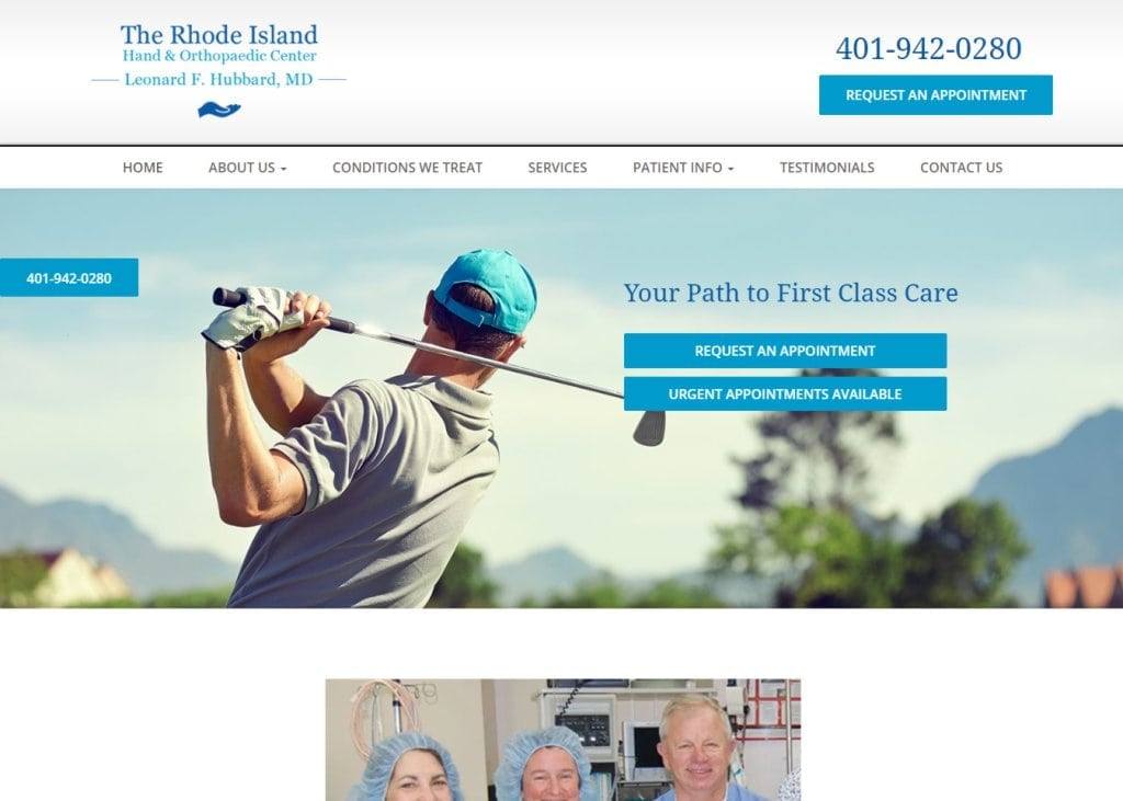 Screenshot showing homepage of Rhode Island Hand & Orthopaedic Center, Dr. Leonard F. Hubbard -Cranston, RI website