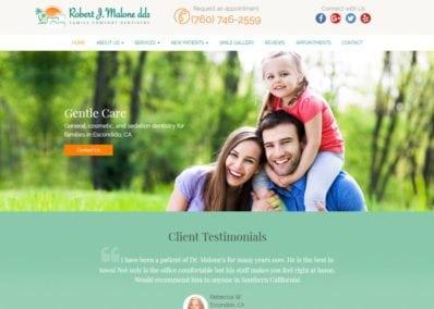 robertjmalonedds.com screenshot showing homepage of Robert J. Malone, DDS -Escondido, CA website