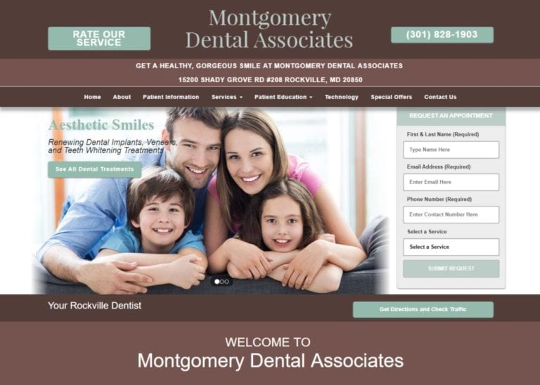 montgomerydentalassociates.com screenshot - Showing homepage of Rockville Dentist - Montgomery Dental Associates - Dr. Mark Hagigi website