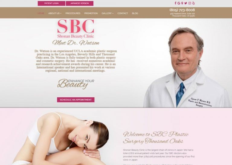 s-b-c-beverlyhills.com - screenshot showing homepage of SBC Plastic Surgery Thousand Oaks, Dr. James Watson MD website