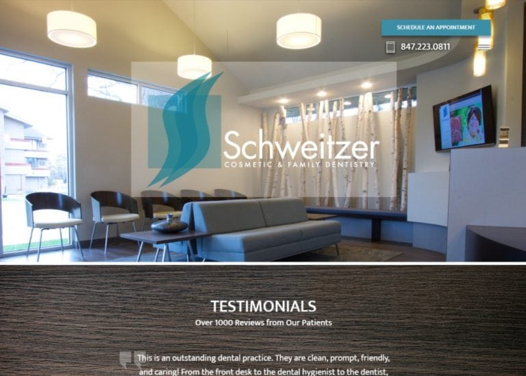 Screenshot showing homepage of Schweitzer Cosmetic & Family Dentistry, Dr. Thomas And Dr. Patricia Schweitzer website