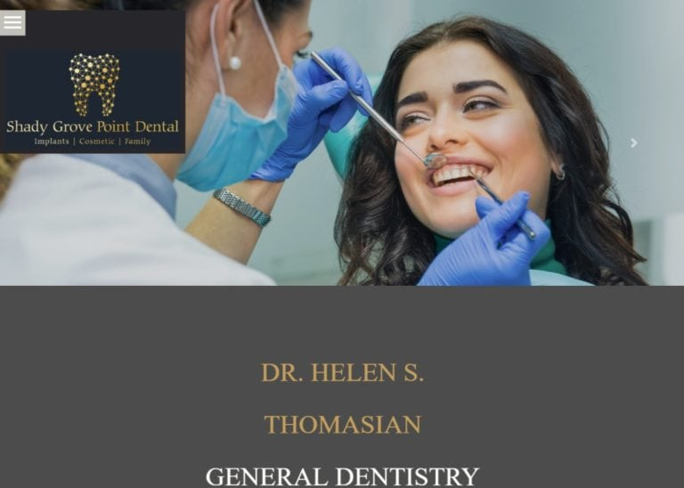 shadygrovepointdental.com screenshot - Showing homepage of Shady Grove Point Dental,Dr. Helen Thomasian -Rockville,MD website