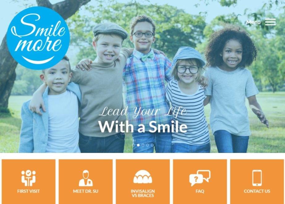 Mysmilemore.com - Screenshot showing homepage of Smile More Orthodontics,Dr. Leon Su, D.D.S, M.D.S. website