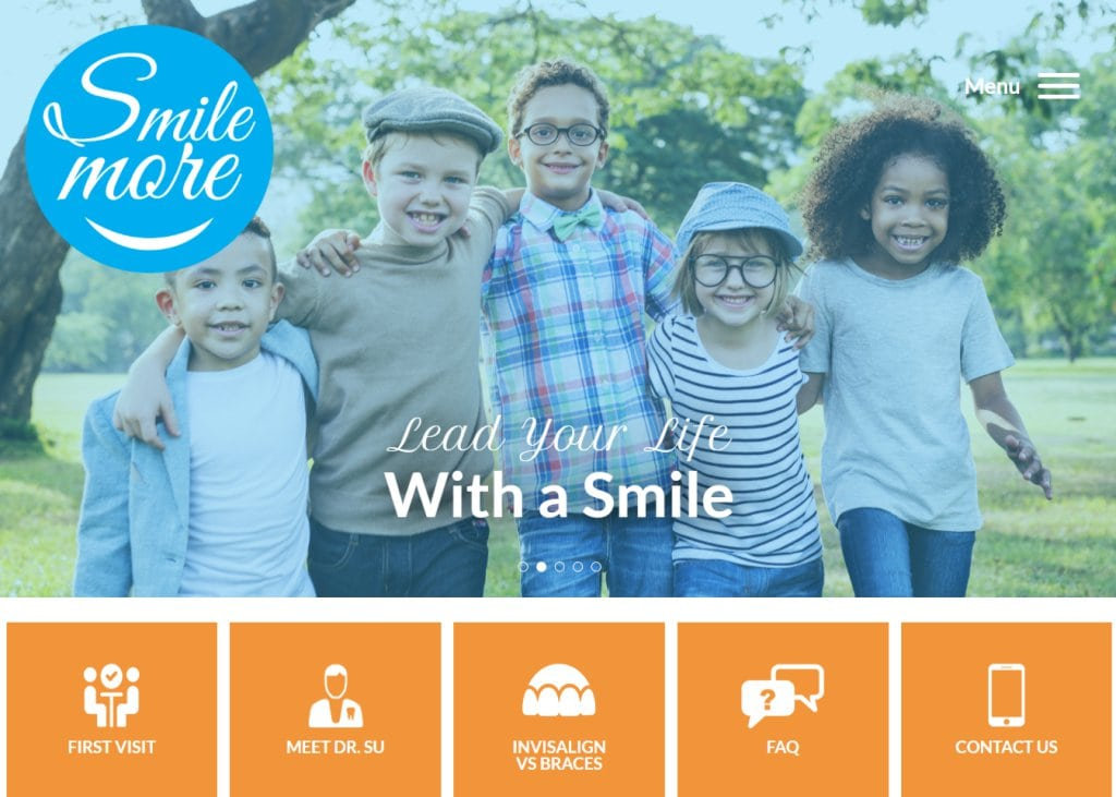 Mysmilemore.com - Screenshot showing homepage of Smile More Orthodontics, Dr. Leon Su, D.D.S, M.D.S. website
