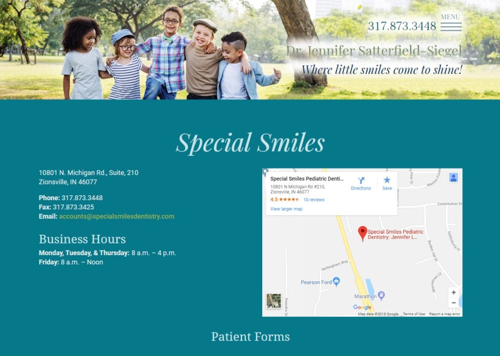 Specialsmilesdentistry.com - Screenshot showing homepage of Special Smiles Dentistry, Dr. Jennifer Satterfield-Siegel website