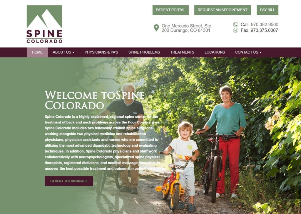 spinecolorado.com screenshot showing homepage of Spine Colorado - Durango, CO