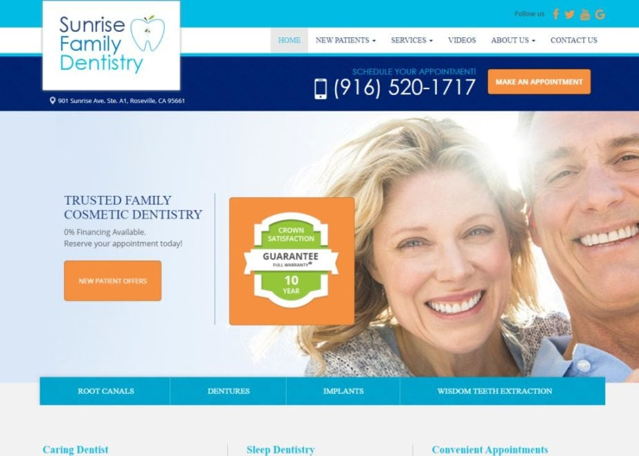 Screenshot showing homepage of Sunrise Family Dentistry, Trusted Family Cosmetic Dentistry -Roseville, CA website