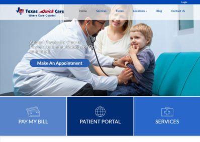 Texasquickcare.com screenshot showing homepage of Texas Quick Care - Dr. John Gowani website