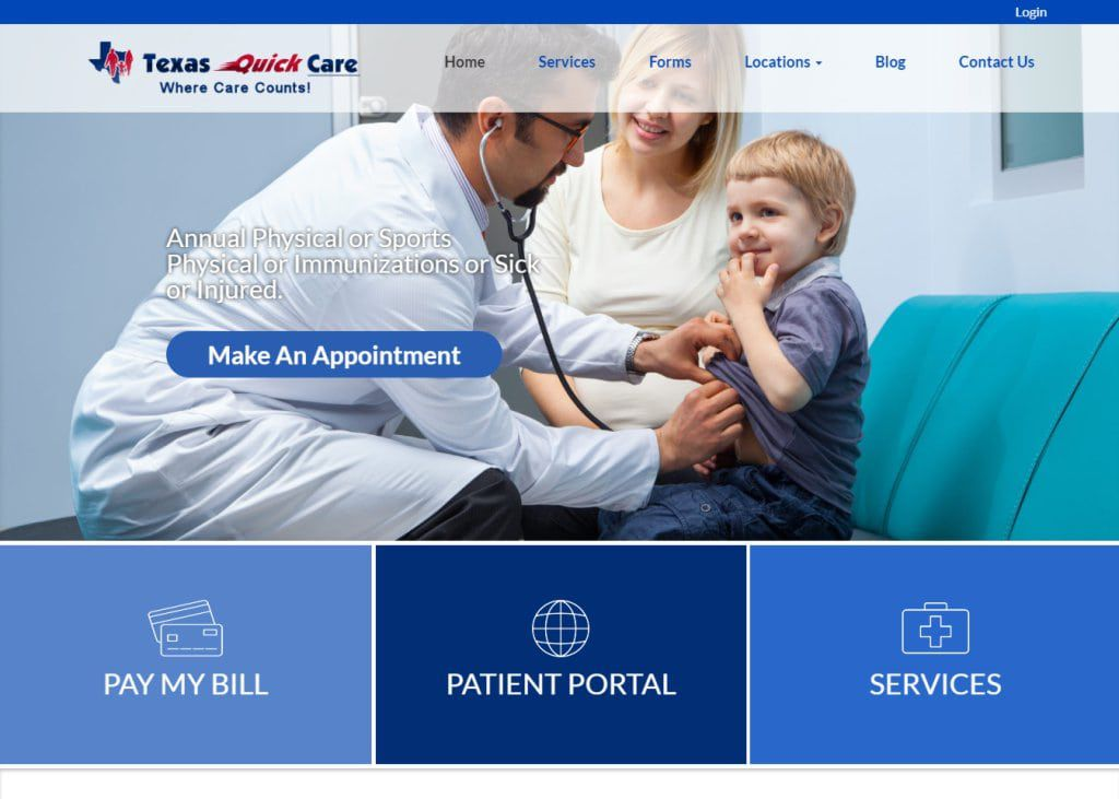 Texasquickcare.com screenshot showing homepage of Texas Quick Care - Dr. John Gowani website