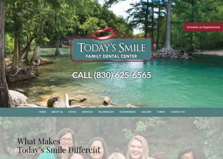 todayssmile.net screenshot showing homepage of Today's Smile - Dr. Sarah McCutchen - New Braunfels Dentist website