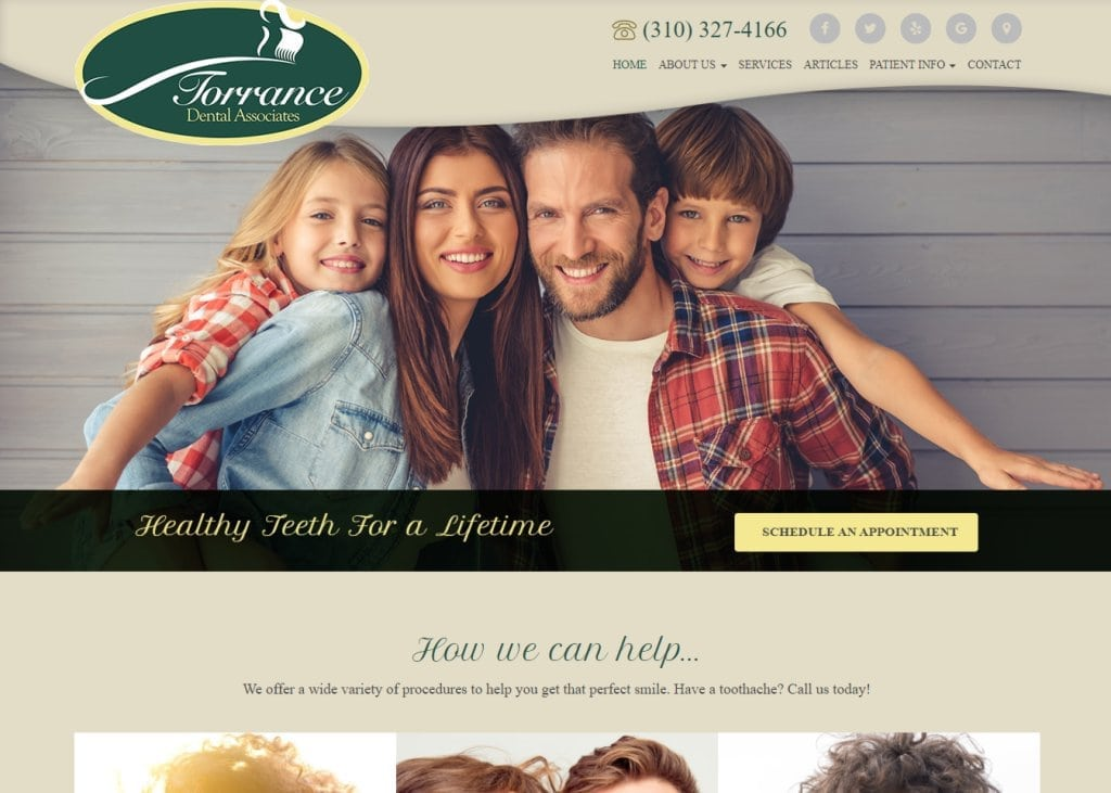 Torrancedentalassociates.com screenshot - showing homepage of Torrance Dental Associates - Torrance, CA website