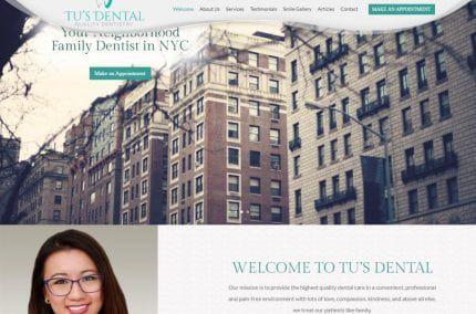 tusdental.com screenshot showing homepage of Tu's Dental, Dr. Tu Anh Vu, DMD -Brooklyn, NYwebsite