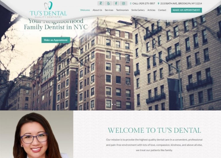 tusdental.com screenshot showing homepage of Tu's Dental, Dr. Tu Anh Vu, DMD - Brooklyn, NY website