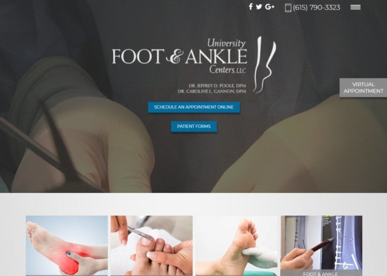 Universityfootandankle.com Screenshot showing homepage of University Foot & Ankle Center, Dr. Poole and Dr. Gannon website