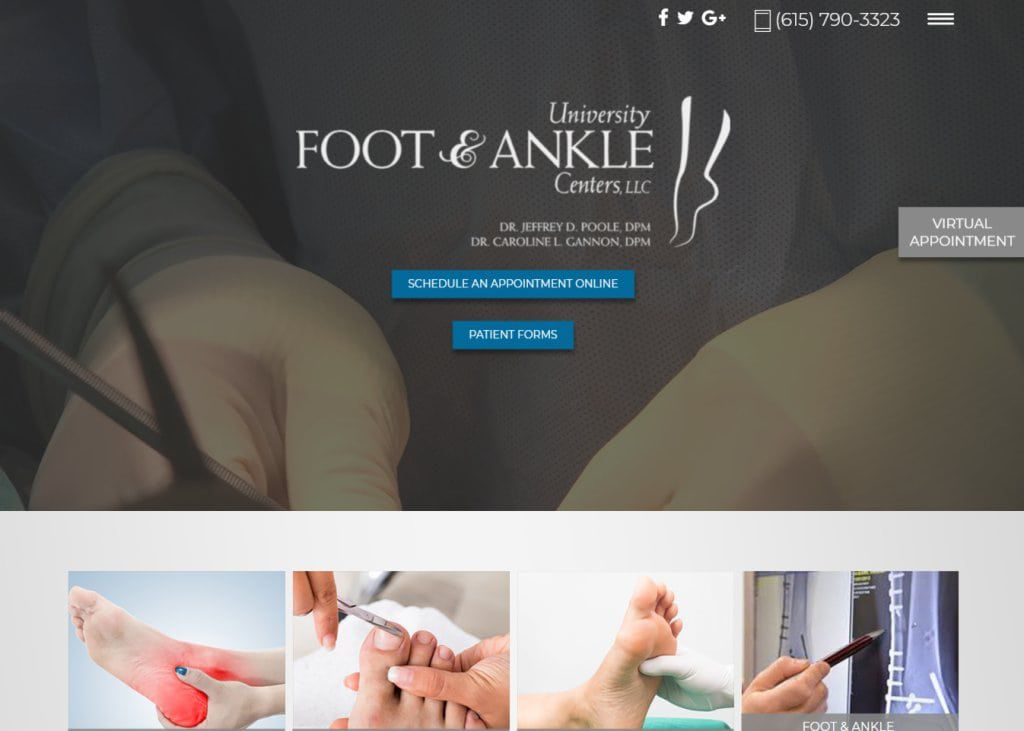 Universityfootandankle.com Screenshot showing homepage of University Foot & Ankle Center,Dr. Poole and Dr. Gannon website
