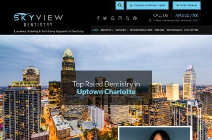 skyviewdentistrycharlotte.com - Screenshot showing homepage of Uptown Charlotte Dentist - Skyview Dentistry, Dr. Seti Byrd website