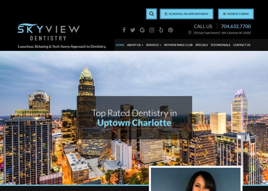 skyviewdentistrycharlotte.com - Screenshot showing homepage of Uptown Charlotte Dentist - Skyview Dentistry,Dr. Seti Byrd website
